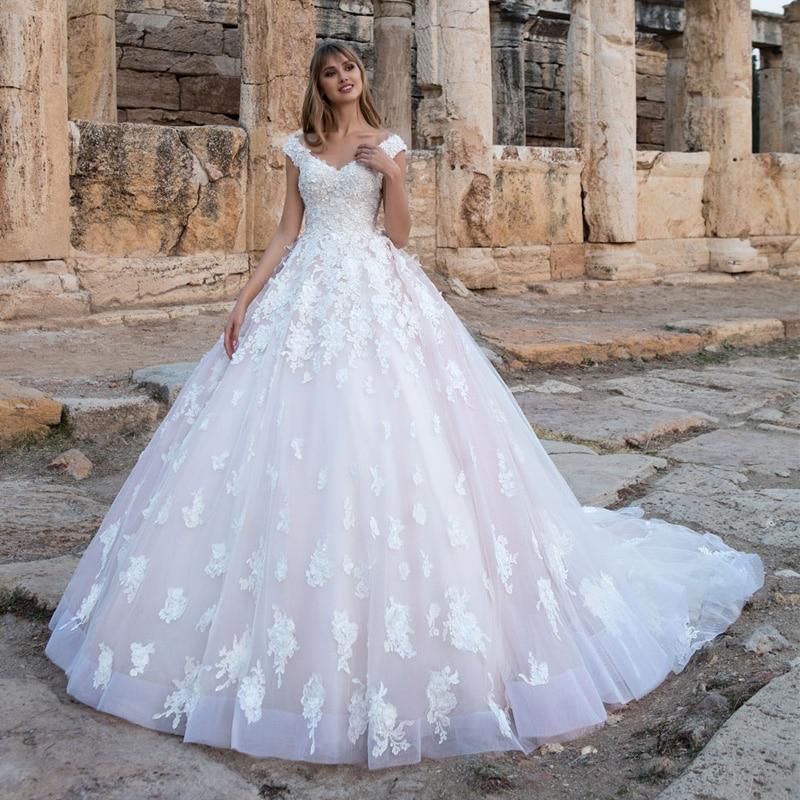 MANYUNFANG Empire V Neck Wedding Dress Spaghetti Straps Robe Mariee Mariage Femme Long Train Hochzeit Wedding Gowns