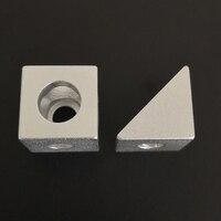 3D מדפסת חלקי כסוף 2020 אלומיניום בלוק קוביית פריזמה מחבר גלגל רגולטור קוביית פינת V-חריץ שלוש דרך סוגר