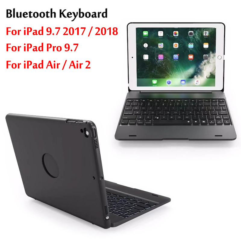 Top Flip Keyboard For iPad 9.7 Air / Air 2 5th 6th Generation Bluetooth Keyboard Case for iPad 9.7 2017 2018 / Pro 9.7 Cover