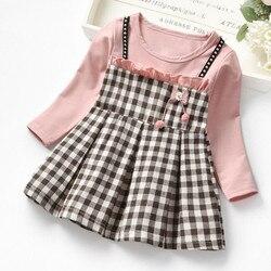Criança do bebê crianças meninas ruched xadrez retalhos cinta princesa vestido de festa vestidos para meninas moda bebê menina xadrez roupas
