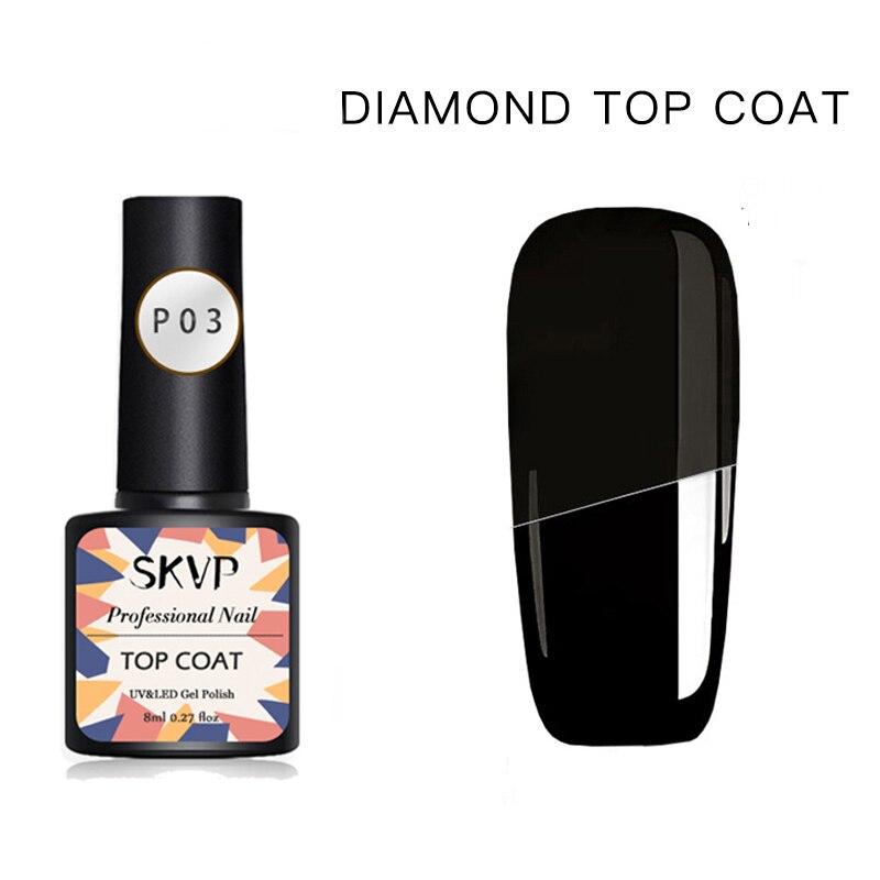 8 мл маникюрное алмазное верхнее покрытие блестящий блеск без протирания матовое отмачиваемое верхнее покрытие УФ Гель-лак для ногтей герметичный матовый базовый гель