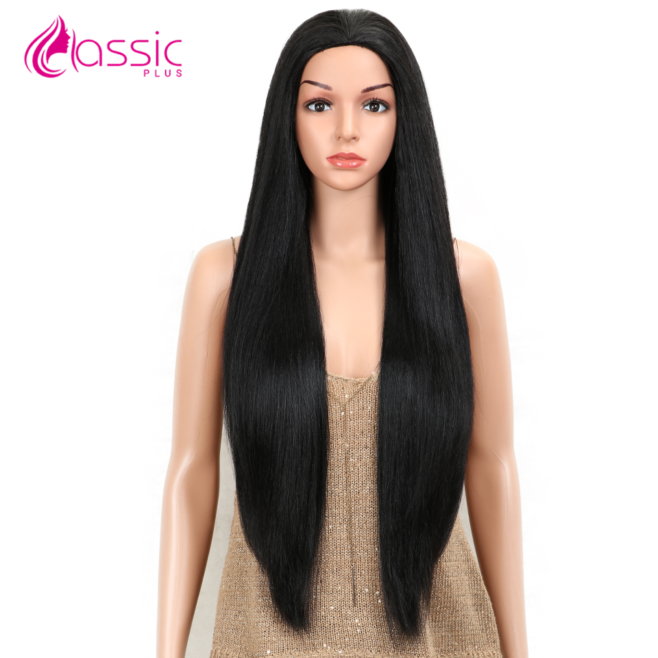 Classic Plus Synthetic Straight Hair Wig 30 Inch Straight Wig For Black Women Black Burgundy Heat Resistant Natural Hair Wigs