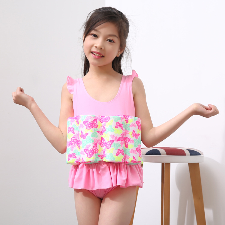 Xiao Shu Girls Baby Swimming Vest Floating Clothing Infants Children One-piece Swimwear Kids Buoyancy Bathing Suit 3-7-Year-Old