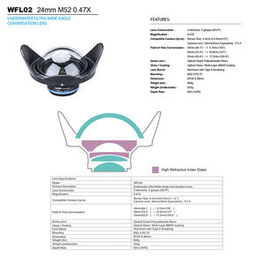 Image 2 - Weefine WFL02 fisheye wide angle lens M52 24mm thread for TG4 TG5 camera Housing case Underwater