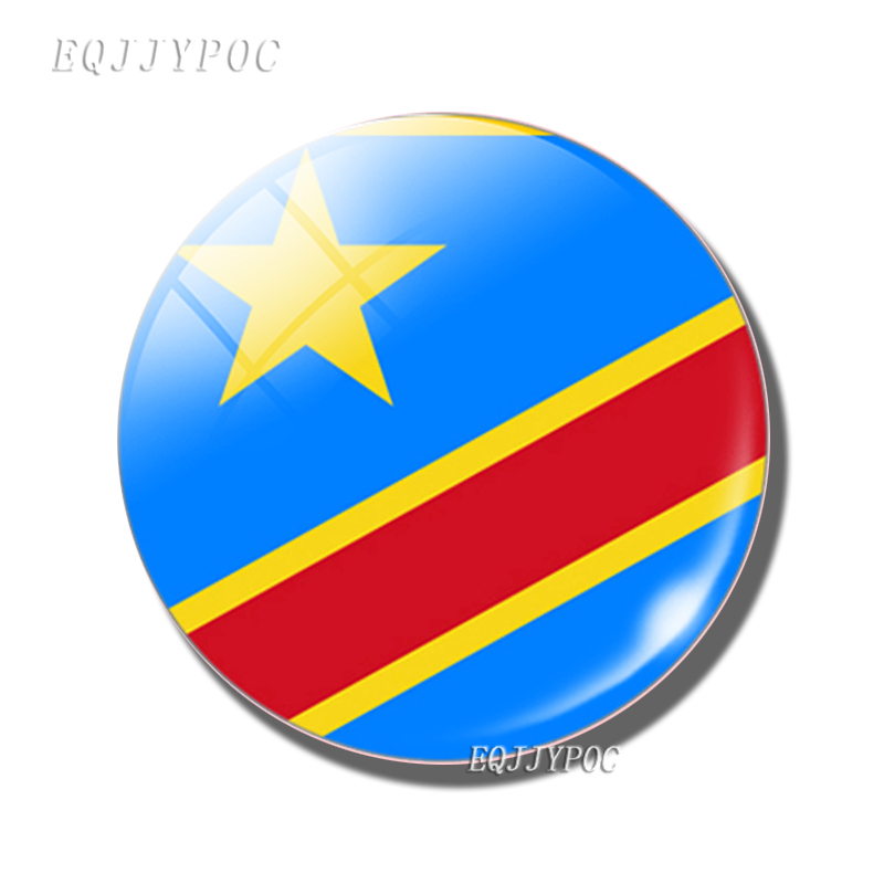 30 MM Glass Dome Magnetic Refrigerator <font><b>Stickers</b></font> Home Decor Flag of the <font><b>Democratic</b></font> Republic of the Congo Fridge Magnet Memo image