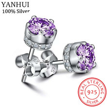 90% OFF! Luxury 100% Original 925 Solid Silver Purple Diamant CZ Stud Earrings For Women Wedding Engagement Gift Fine Earrings(China)