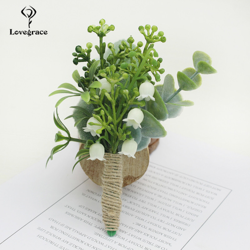 Artificial Green Plant Groom Botonniere Bridesmaid Wrist Corsage Bracelet Sister Brother Wedding Corsage Flower Party Decoration