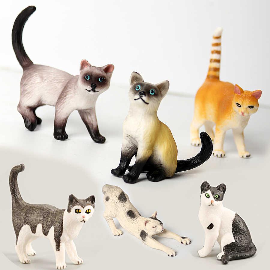 Fazenda em miniatura Realista Figurines Gato Brinquedos Educativos Modelo Animal Cat Toy Figuras Conjunto de Decoração e Favores Do Partido