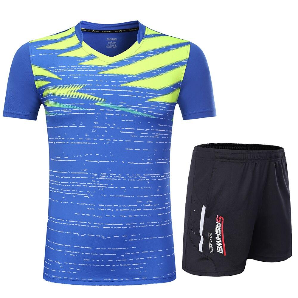 Новинка, быстросохнущая футболка для бадминтона для мужчин/женщин, спортивный комплект для бадминтона, настольный теннис, Мужская форменная футболка, теннисные рубашки, одежда 3869 - Цвет: Blue
