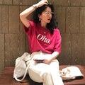 Женская свободная футболка с коротким рукавом, белая или красная хлопковая футболка в Корейском стиле, лето 2021