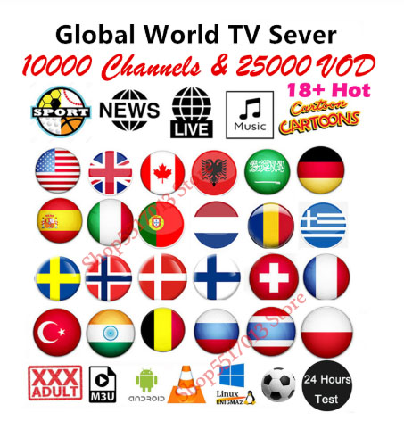 IPTV M3u Subscription 1 Year For  Europe Adult French Polish Belgium Turkish Canada Portugal UK Iptv Code Smart TV Android BoX