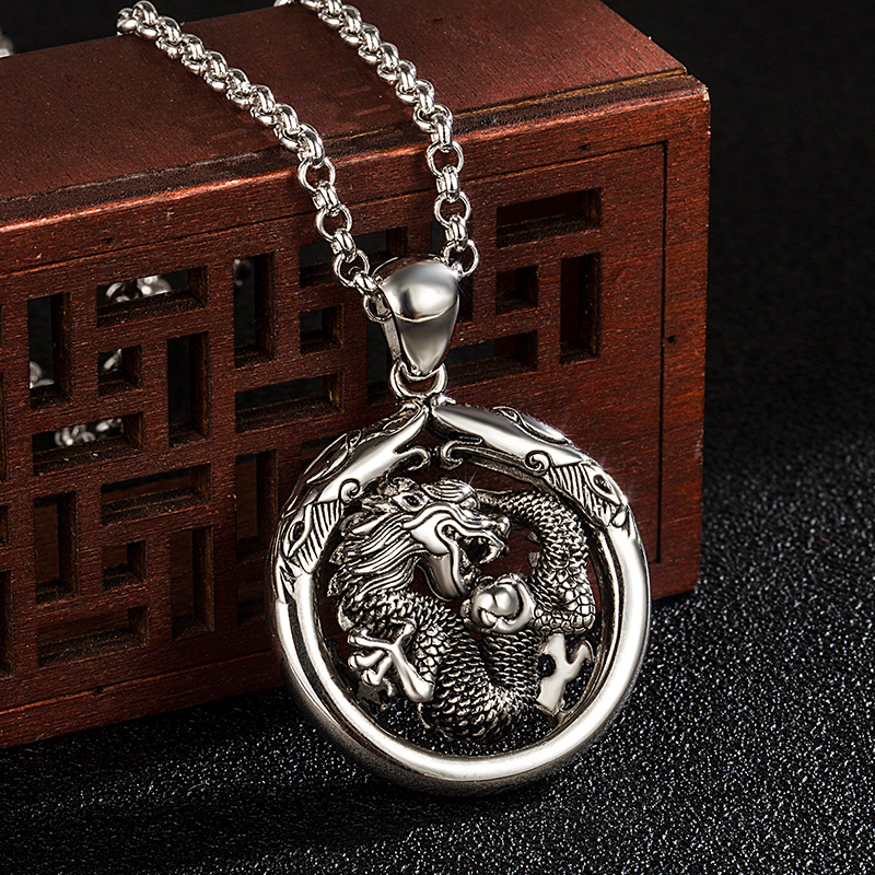 Japan Vintage Style Men's 100% 925 Silver Necklace Temperament Personality Dragon Pendant Solid Silver Jewelry Box Chain 45-70CM