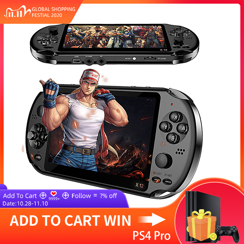 X12 Game Video Games Handheld Game Console for PSP Retro Dual Rocker Joystick 5 1 inch Screen TV Game Player for SFC GBA NES Bin