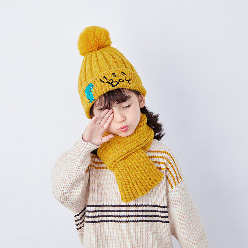 Doitbest 2 To 7 Years Old Kids Beanie Sets Letters It's A Boy 2 Pcs Boys Girls Winter Hat Scarf Set