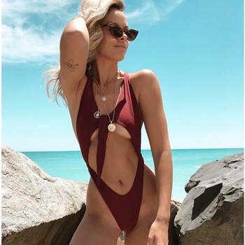 Women Solid Bikinis Sexy One Piece Backless Swimsuit Female Bathing Suits Bodysuit Beach Wear 2020 New Swim Suit 1