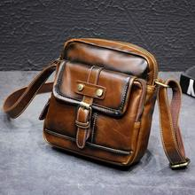 Crazy horse leather Male Waist Packs Phone Pouch Bags Bag Mens Small chest Shoulder Belt small back pack