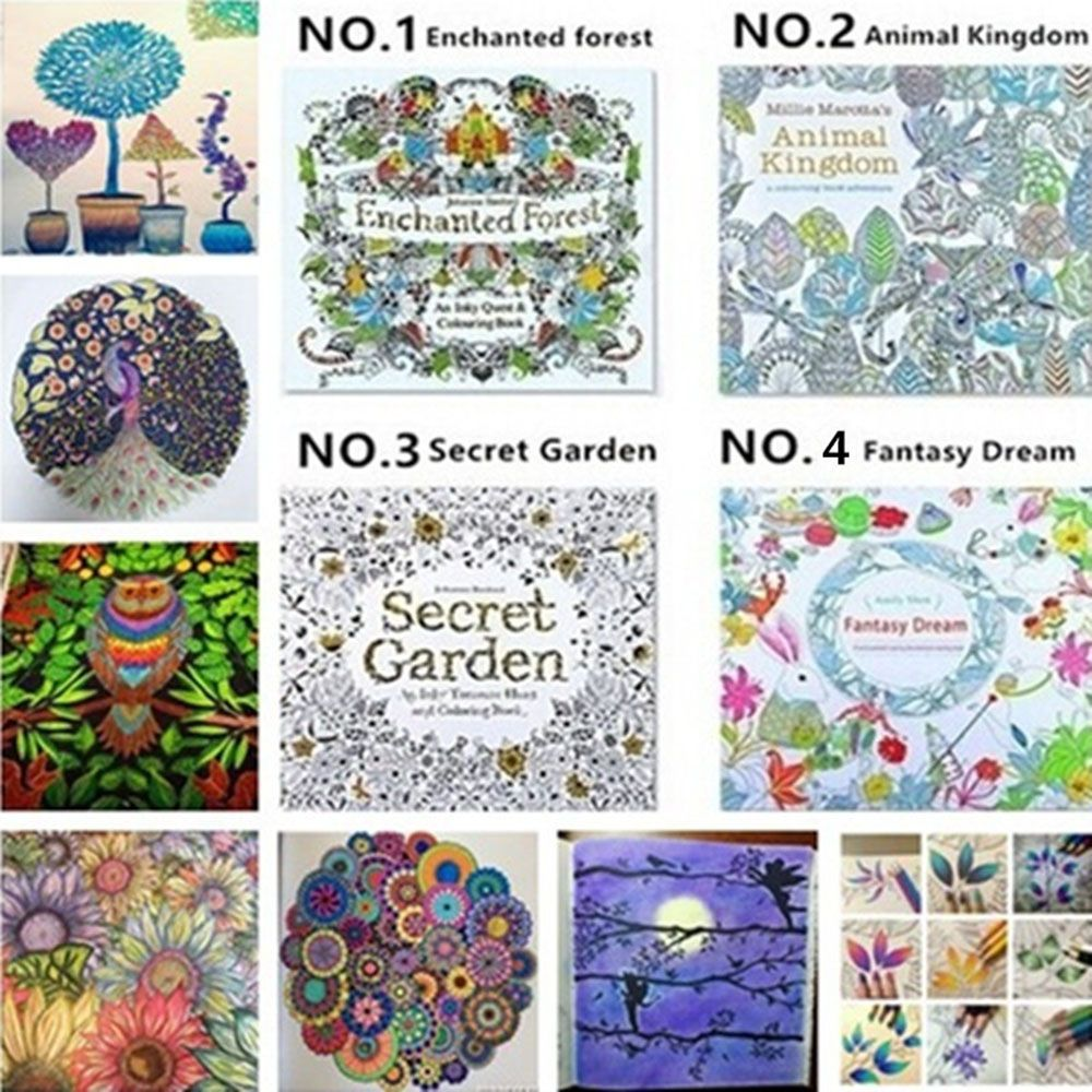 1Pcs Cartoon Children Adult Puzzle English Secret Garden Decompression Coloring Painting Book School Office Supply