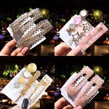 купить 3Pcs Vintage Korean Button Hollow Hair Clip For Women Leopard Marble Crystal Rhinestone hair clip Hair Accessories по цене 105.51 рублей