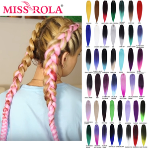 Miss Rola 75g 26 Inches Kanekalon Hair Braid Synthetic Hair Extension Pre Stretched Purple Blue Pink Green Twist Jumbo Braid