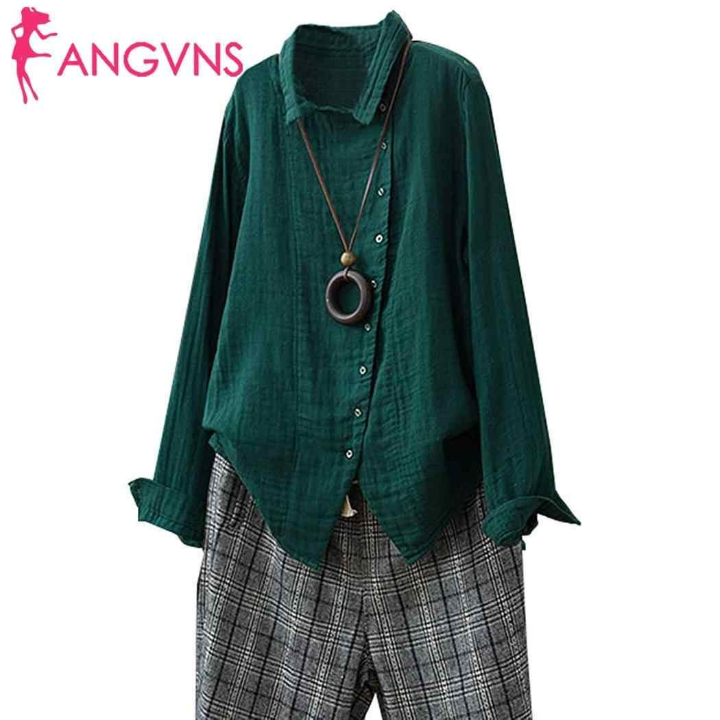 Women Casual Turn-down Collar Long Sleeve Button Solid Regular Irregular Design Open Stitch Shirt