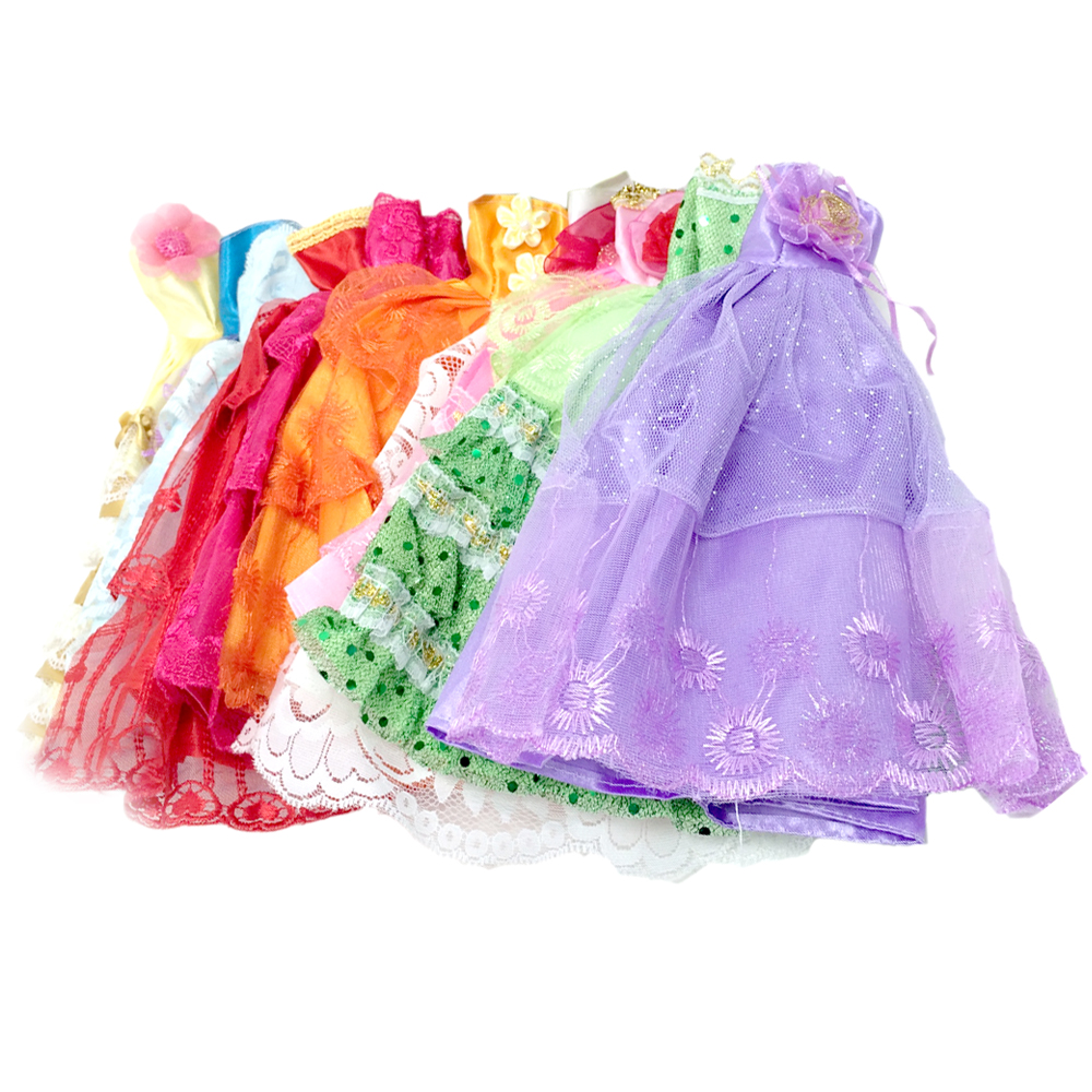 5 Pcs Set Dolls Toys Party Princess Dresses Gown Outfits Clothes Accessories Playsets For Barbie Doll Kids Girls Birthday Gifts