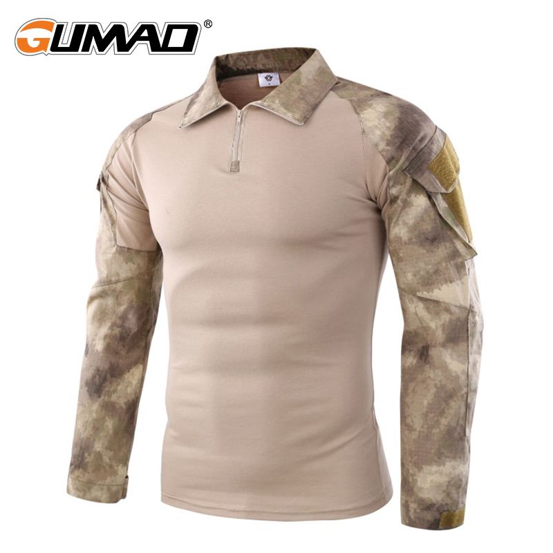 Camouflage Military Tactical Combat Long Sleeve Shirt Force Multicam Camo Army Men T-Shirt Hiking Hunting Climbing Shooting