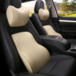 Image 5 - KKYSYELVA PU Car Auto Seat Supports Back Cushion And Headrest Neck Pillow Memory Foam Lumbar Back Support Interior Accessories