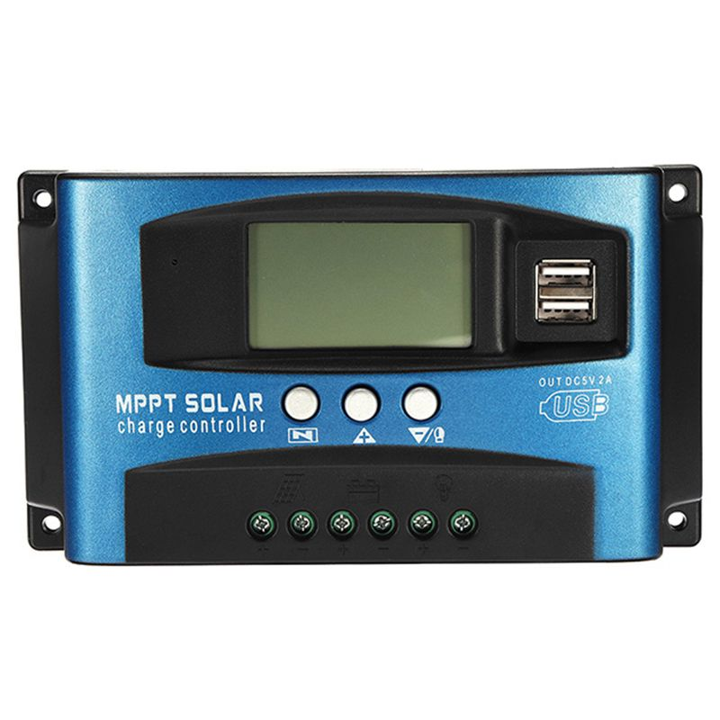 HTHL-100A Mppt Solar Charge Controller Dual Usb Lcd Display 12V 24V Auto Solar Cell Panel Charger Regulator With Load