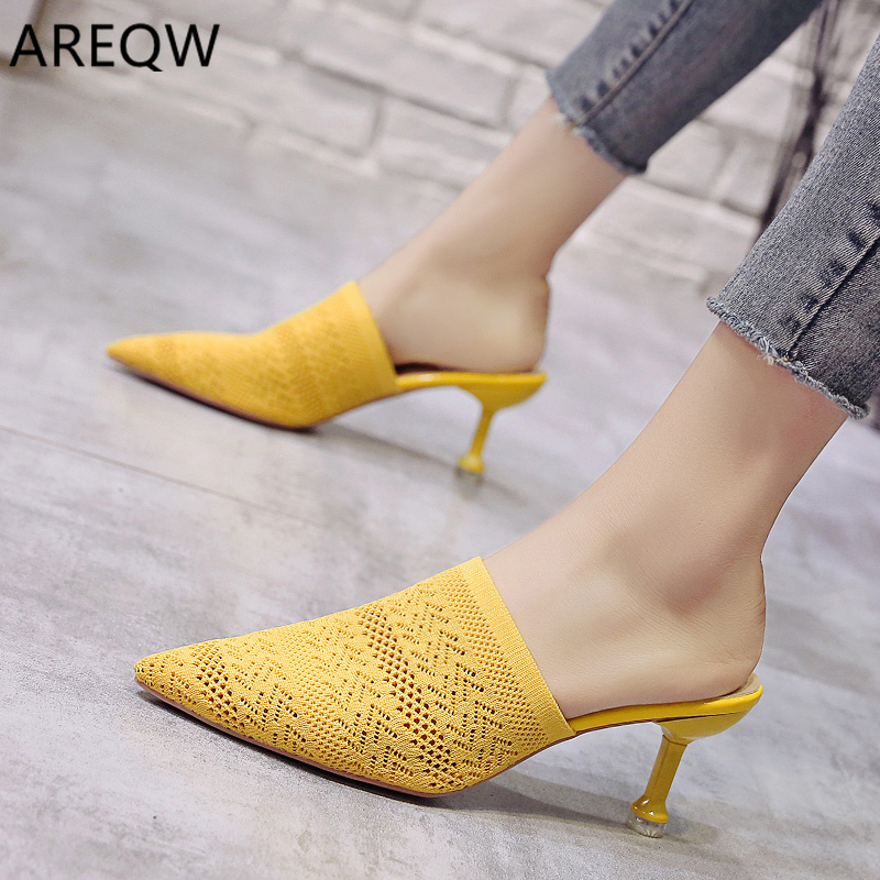 Women High-heeled Sandals 2020 Summer New Solid Color Fashion Pointed Shallow Mouth Baotou Sexy Ladies High-heeled Slippers
