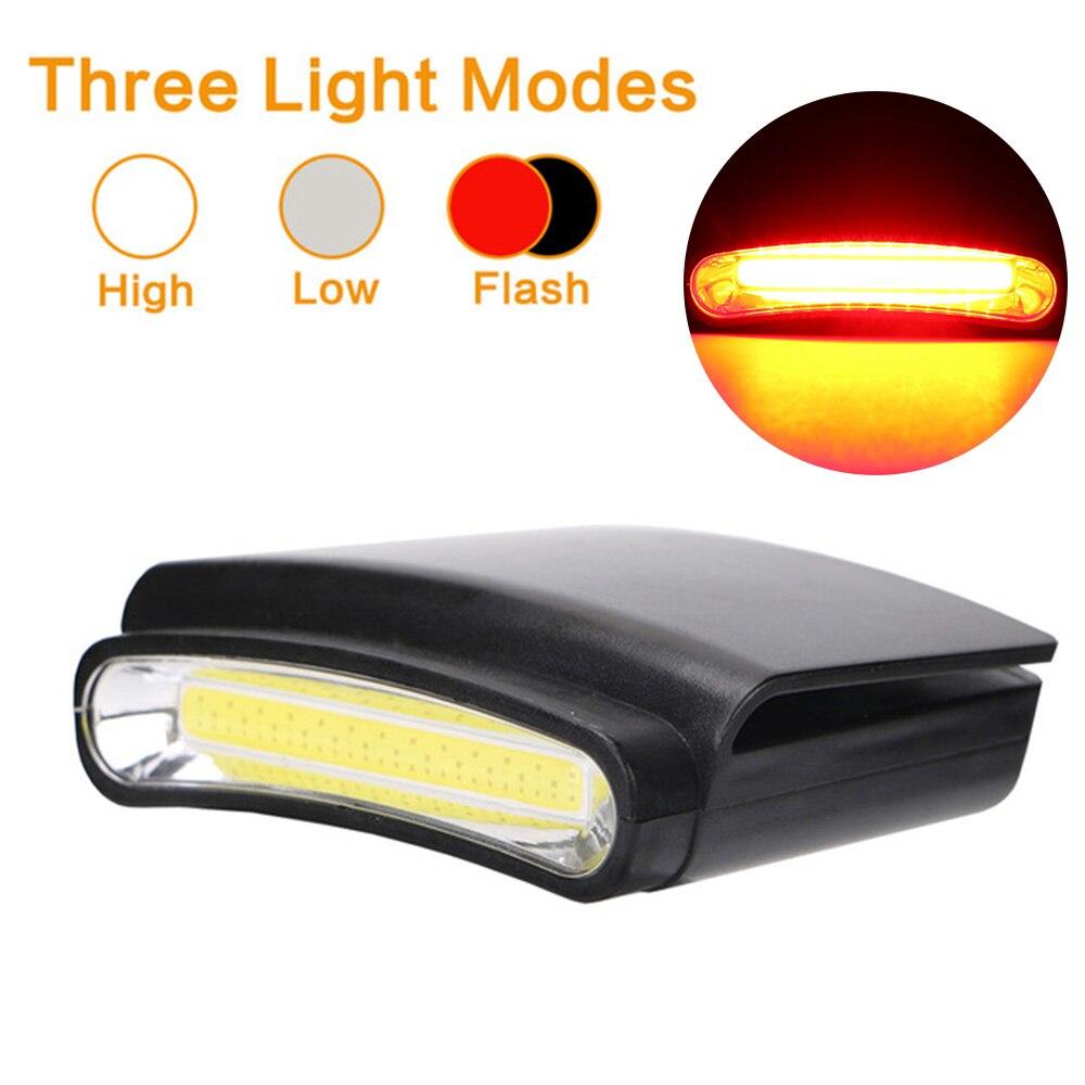COB LED Clip On Hat Head Lamp High Light / Low Light / Red Strobe LED Lamps Headlight Riding Headlamp Flashlight Cap Light