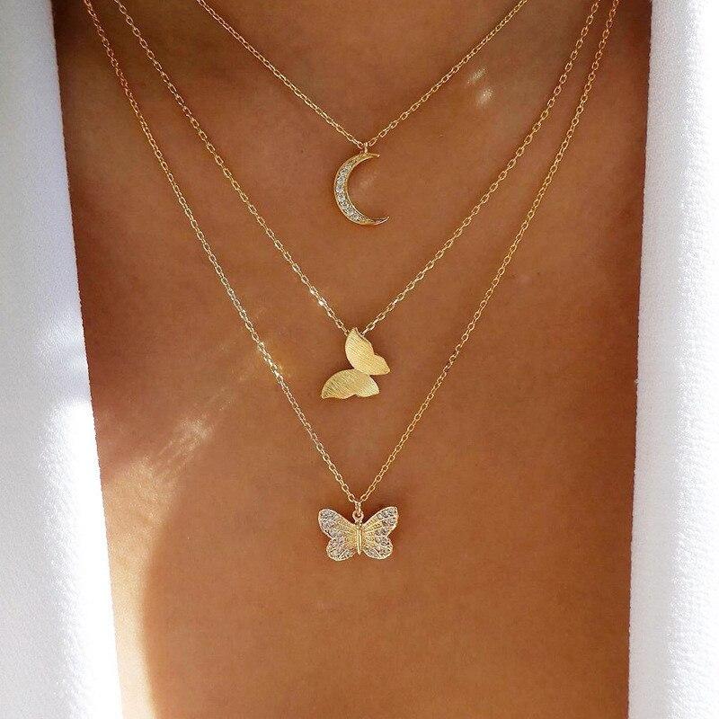 Женское многослойное ожерелье Mostyle, винтажное ожерелье золотистого цвета в стиле бохо, ожерелье-чокер с подвеской в виде бабочки и Луны