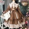 Japanese Gothic Lolita Dress Women Kawaii Bow Bear Lace Blue Dress Long Sleeve Princess Dress Halloween Costume Gift For Girls 2