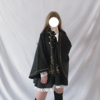 Retro victorian loli Japanese Harajuku kawaii girl autumn winter dark lolita cloak polo collar batwing sleeve gothic lolita coat