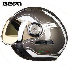 BEON Motorcycle Helmet 3/4 Open Face Motorbike Moto Casco Capacete Vintage Retro Biker Scooter Helmet Double Visor Black цена