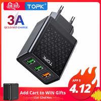 TOPK B354Q 3 Ports 30W chargeur rapide 3.0 USB pour iPhone Xiaomi Samsung Huawei QC3.0 chargeur de téléphone mural de Charge rapide