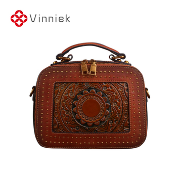 Summer New Cowhide Leather Female Bags Retro Floral Women's Handbag Totem Embossed Shoulder Bags Small Flap Vintage Cross Body