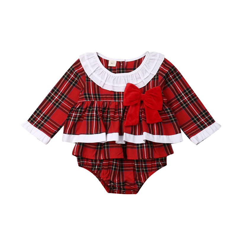 2019 New Christmas Baby Clothes Autumn and Winter Cotton Baby Girls Clothes Plaid   Romper   Jumpsuit Warm Newborn Girls   Romper