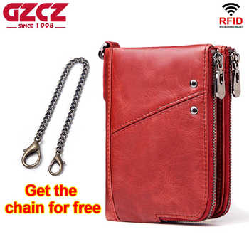 GZCZ 2019 Fashion Women Wallet Genuine Leather Zipper Design Female Short Rfid Purse With ID Card Holder Coin Pockets Mini Walet - DISCOUNT ITEM  66% OFF All Category