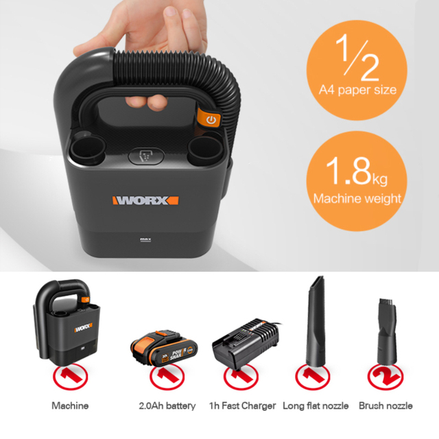 Worx Portable Car Vacuum Cleaner WX030 20V Cordless 10Kpa Powerful Cyclone Suction Handheld Cleaner for Car Home Auto Aspirador 6