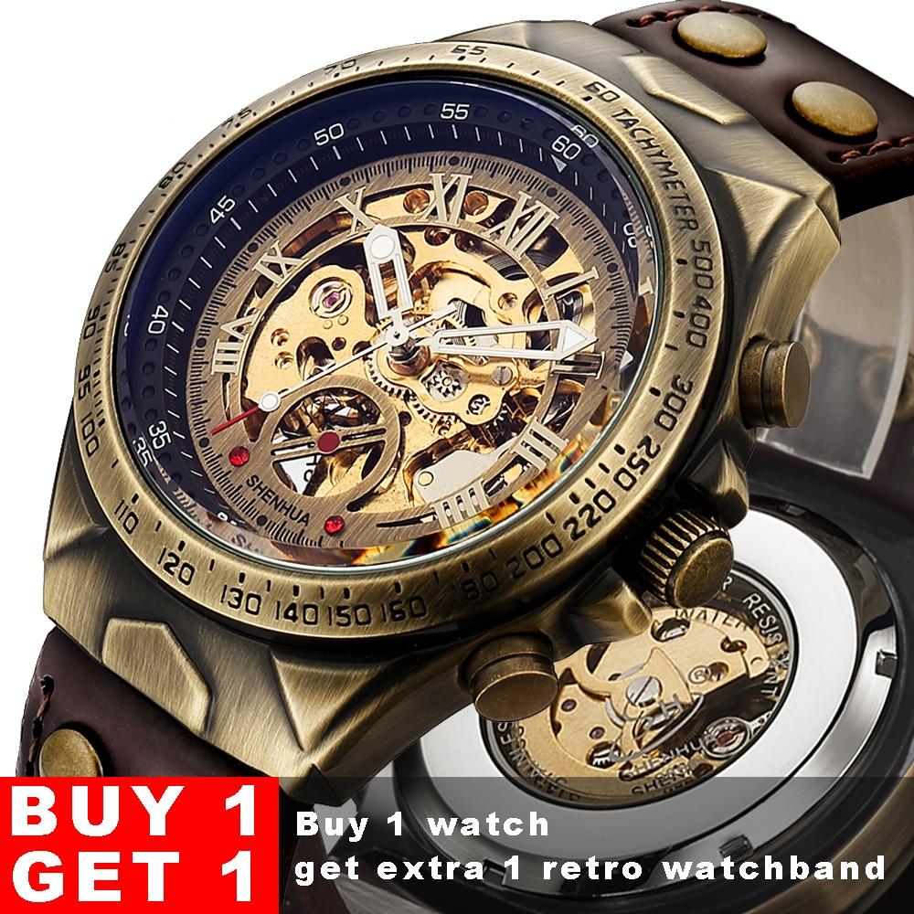 Steampunk Bronze Automatische Uhr Männer Mechanische Uhren Vintage Retro Leder Transparent Skelett Uhr Mann Uhr montre homme