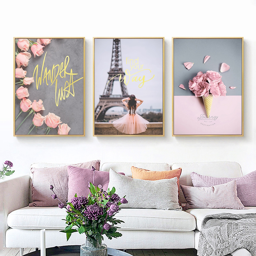 Canvas Painting Paris-Tower Wall-Pictures Peony Tulips Rose Nordic Posters Living-Room-Decor
