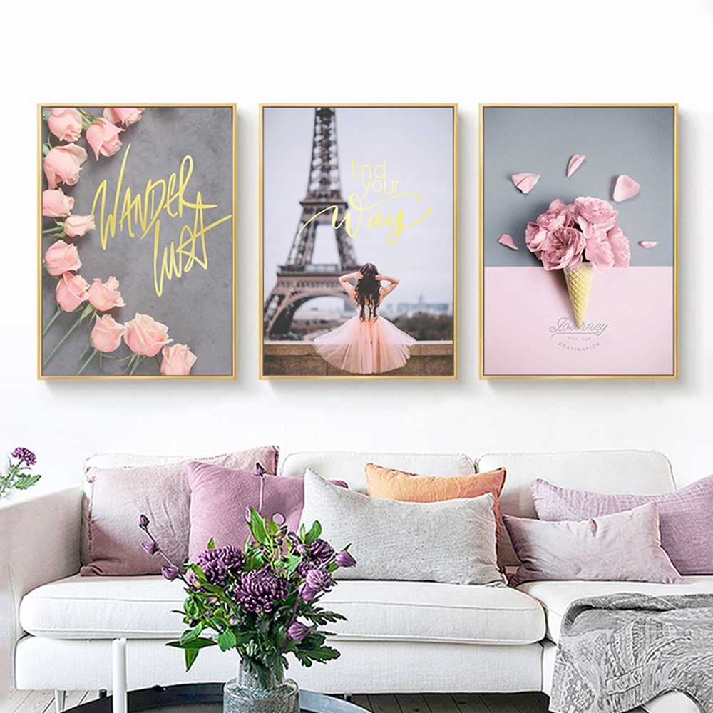 Paris Tower Peony Tulips Rose Street Landscape Art Canvas Painting Nordic Posters And Prints Wall Pictures For Living Room Decor