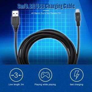 Image 3 - 3m/9.8ft USB كابل شحن مع حلقة المغناطيسي ل PS3 وحدة تحكم لاسلكية USB شاحن أجهزة سوني بلاي ستيشن PS3 اكسسوارات