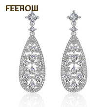 FEEHOW Vintage Style Teardrops Shape Micro Paved Cubic Zircon For Brides Wedding Accessories Bisuteria FWEP2105