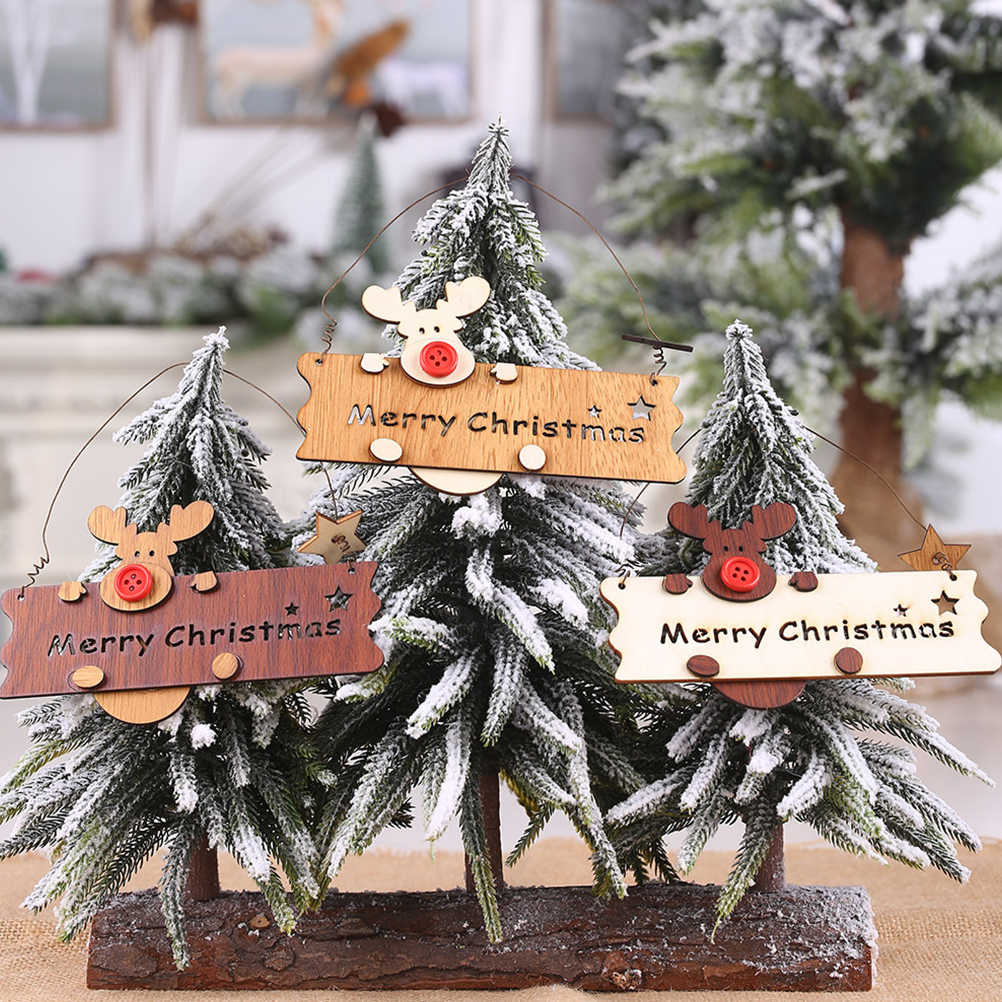 2PCS MERRY CHRISTMAS Letter Ornament Wooden Sign Pendant Hanging Decoration Christmas Tree Decoration Reindeer (Applewood)