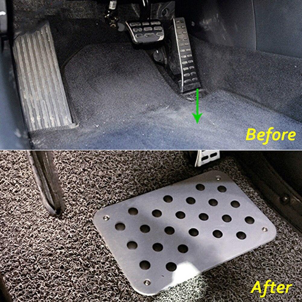 Car AluminumAlloy Non-slip Rubber Heel Plate Pedal Carpet Pedal Floor Mat Silver