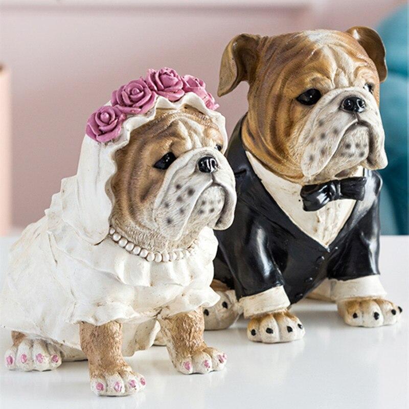 European Modern Bulldog Art Sculpture Animal Dog Figurine Creative Resin Crafts Decorations For Home Wedding Gift R3602