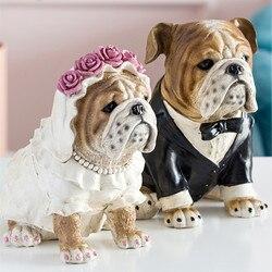 Europeu moderno bulldog arte escultura animal cão estatueta criativo resina artesanato decorações para casa presente de casamento r3602