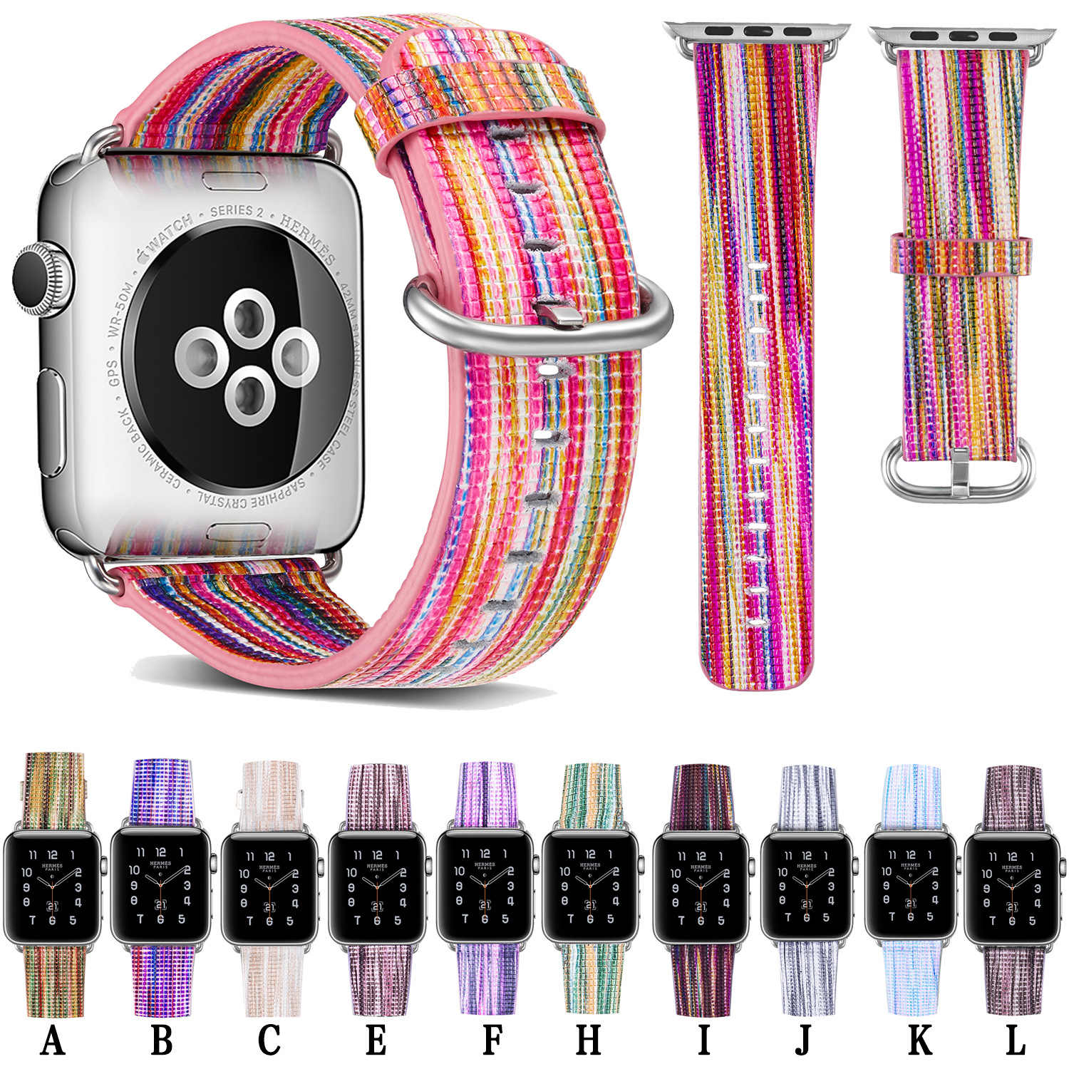 cow leather bands 44 42 mm for women straps for apple watch serie 3 4 iwatch bracelets 40 38mm painted smart watch belt 2 1