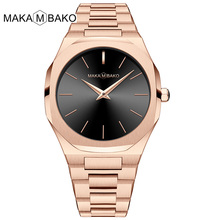 все цены на 2019 New Fashion Simple Women Quartz Watches Luxury Brand Polygonal Rose Gold Ladies Wrist Watches Full Steel Waterproof Clock онлайн